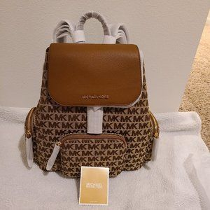 Michael Kors Abbey Large Logo Jacquard and Leather